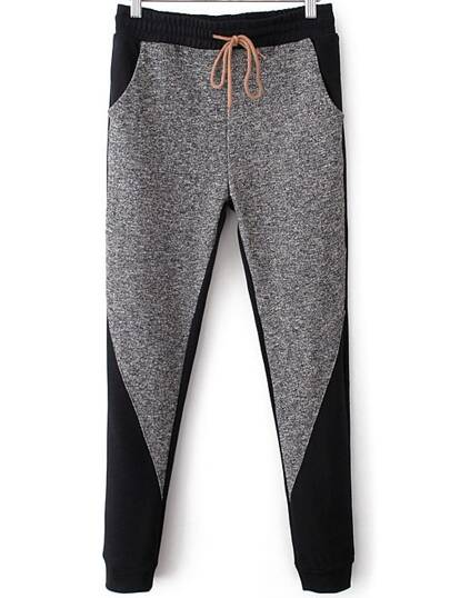 Grey Black Drawstring Waist Casual Pant