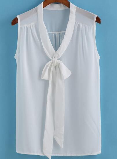 ärmellose Chiffon Bluse mit Schleife am Ausschnitt-weiß