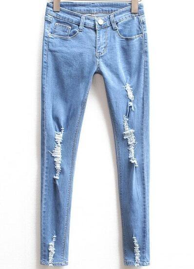 Pantalón lápiz rotos denim -azul