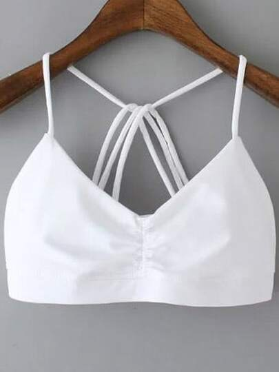 White Spaghetti Strap Backless Lingerie