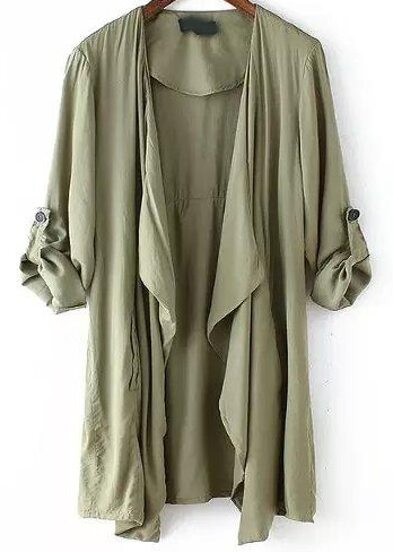 Army Green Long Sleeve Asymmetrical Trench Coat