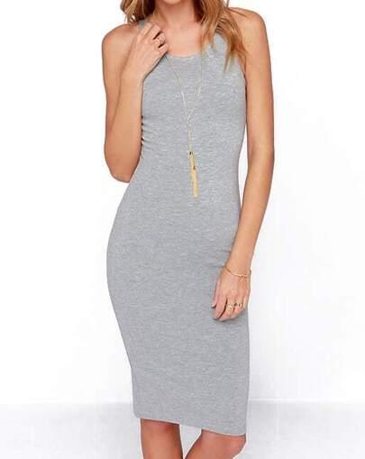 Grey Round Neck Zipper Slim Bodycon Dress