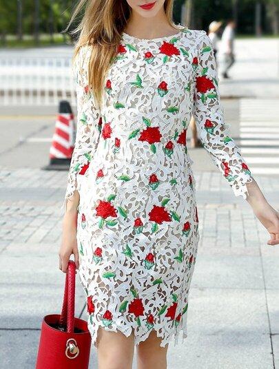 robe brodé creux -blanc
