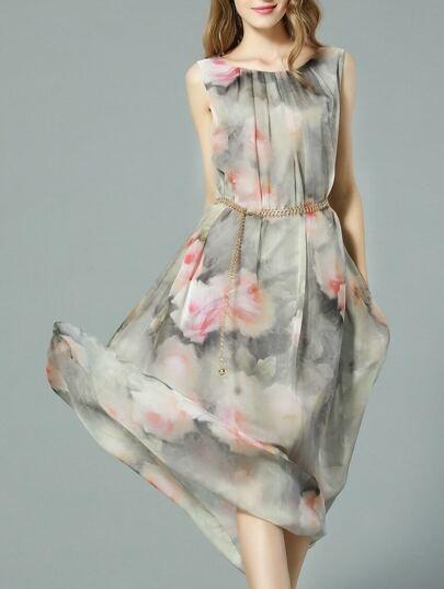 Grey Sleeveless Floral Print Drawstring Maxi Dress
