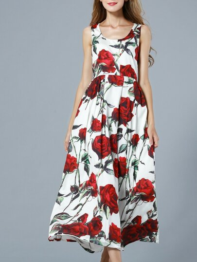 White Sleeveless Rose Print Maxi Dress