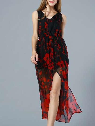 Red V Neck Sleeveless Floral Print Maxi Dress