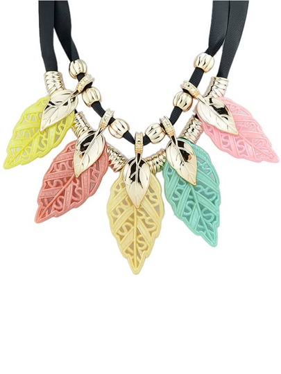 Colorful Plastic Leaf Statement Necklace