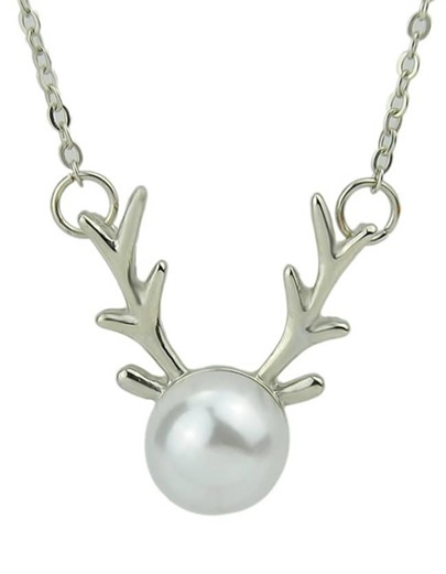 Gold Silver Color Imitation Pearl Pendant Necklace Womens