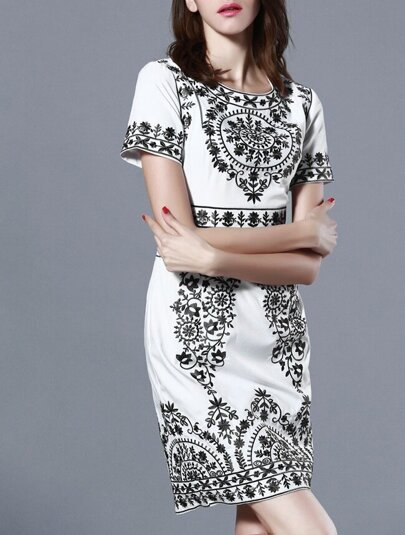Black White Short Sleeve Embroidered Bodycon Dress
