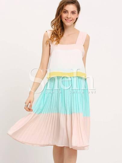 White Blue Sleeveless Blouson Color Block Dress