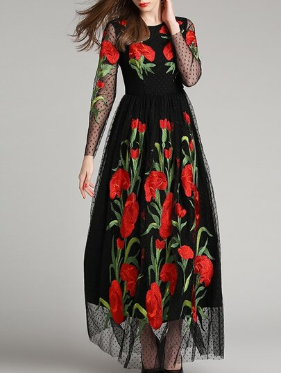 Black Round Neck Long Sleeve Embroidered Maxi Dress