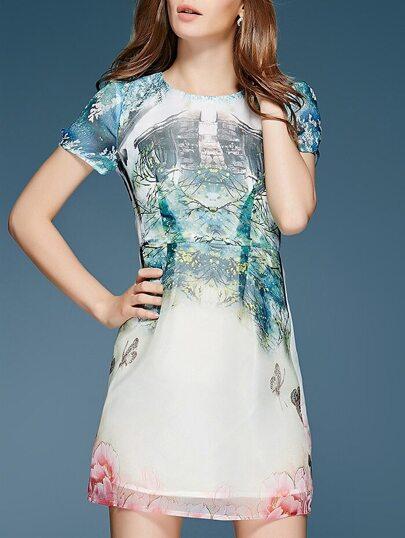 robe motif fleuri manches courtes col rond -blanc