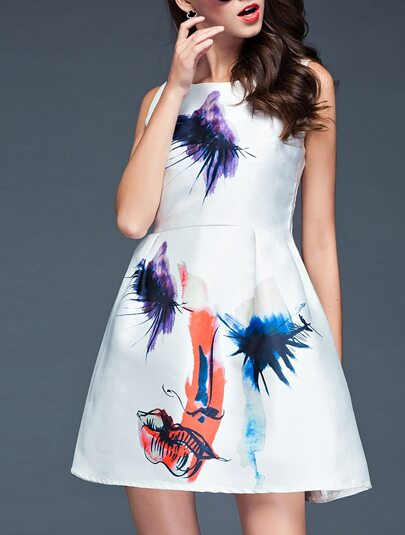 White Round Neck Sleeveless Digital Print Dress