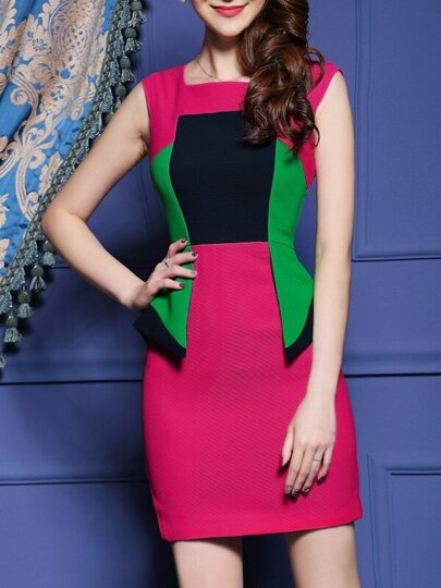 Rose Red Boat Neck Sleeveless Bodycon Dress