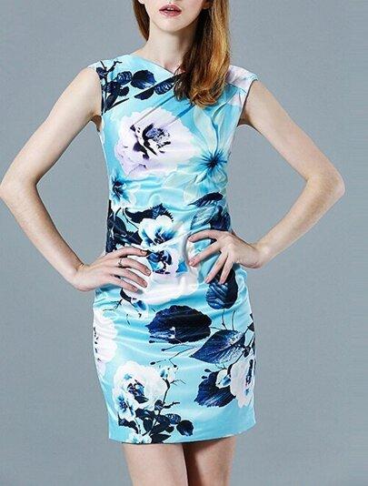 robe fleuri dos nu sans manche -bleu