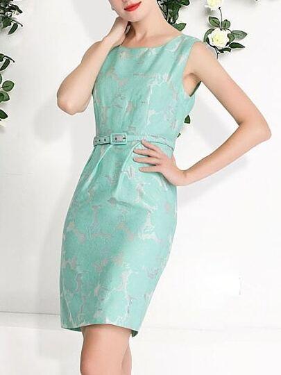 robe fleuri sans manche -vert