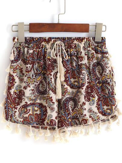 Pantalón estampado flecos -multicolor