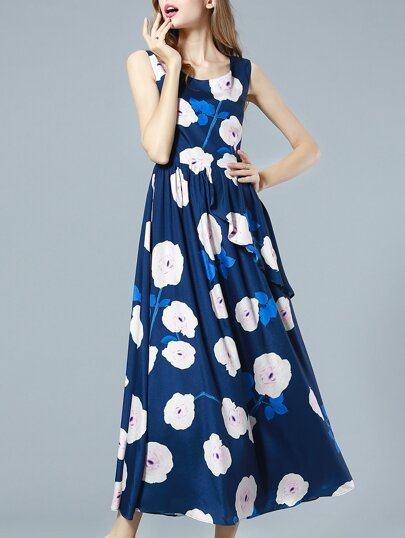 Navy Round Neck Sleeveless Ruffle Print Dress