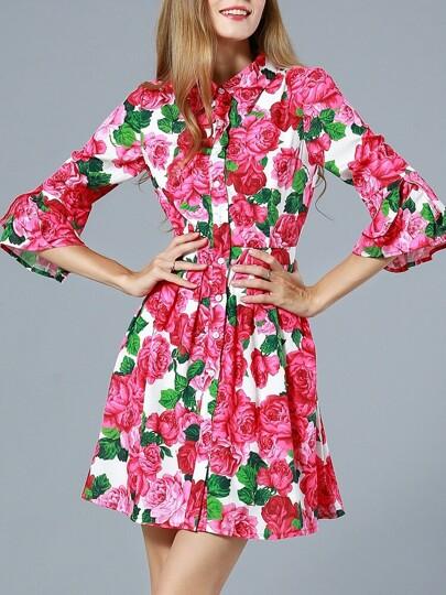 Red Lapel Length Sleeve Floral Print Dress
