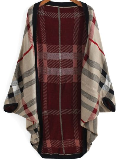 Cardigan plaid grande manche -rouge kaki