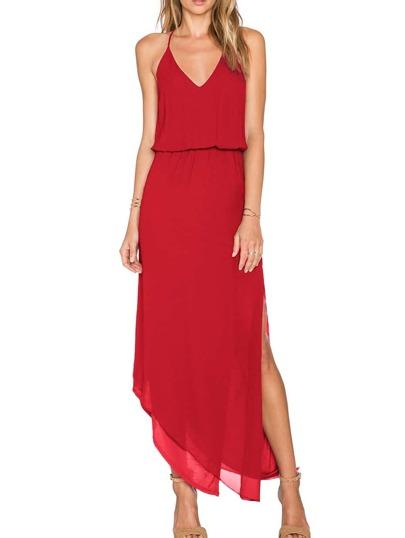 Red Spaghetti Strap Asymmetrical Split Dress