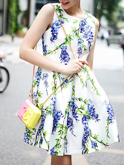 White Round Neck Sleeveless Floral Print Dress