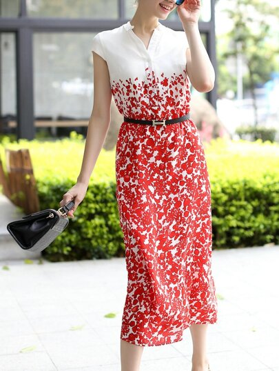 Red White V Neck Cap Sleeve Drawstring Print Dress