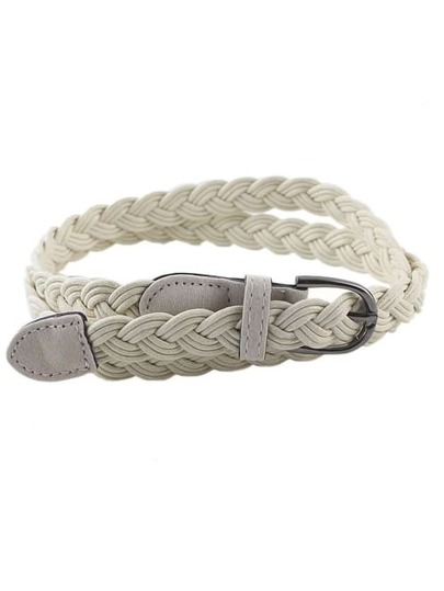 Beige Simple Braided Rope Waist Belt
