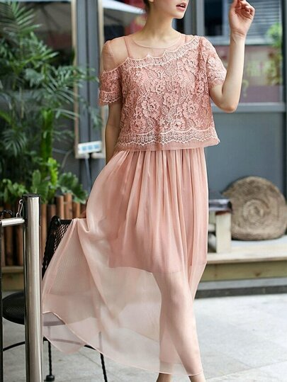 Pink Short Sleeve Contrast Lace Two Pieces Dress