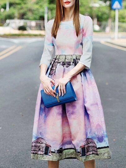Vestido cuello redondo digital -multicolor