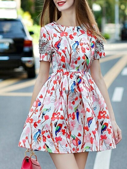 Multicolor Round Neck Short Sleeve Beading Print Dress