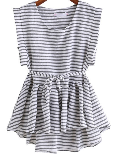 Black White Round Neck Style Striped Dip Hem Top