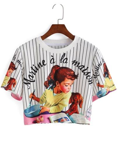 Vertical Striped Girl Print Crop T-shirt