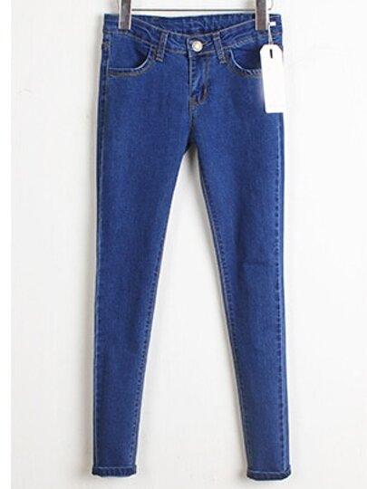 Blue Pockets Slim Denim Pencil Pant