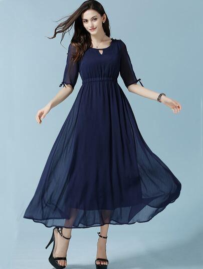Navy Coctel Open Shoulder Keyhole Chiffon Dress