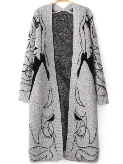 Grey Long Sleeve Beauty Print Knit Cardigan