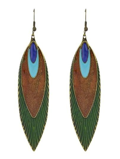 Green Enamel Unique Patten Long Earrings