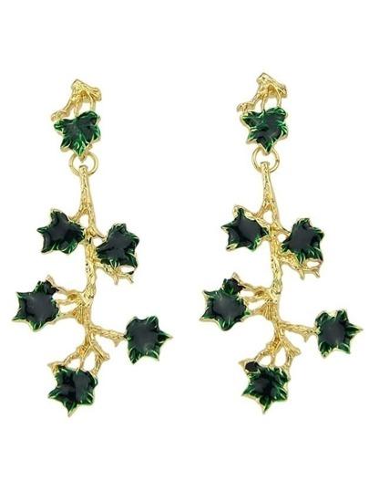 Long Green Rhinestone Flower Shaped Hanging Stud Earrings