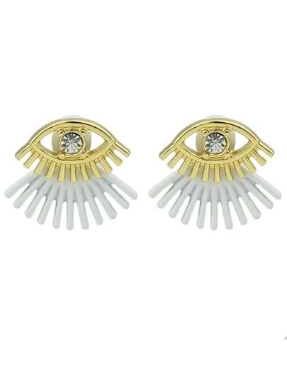 Small Rhinestone Eye Shaped Silver Stud Earrings