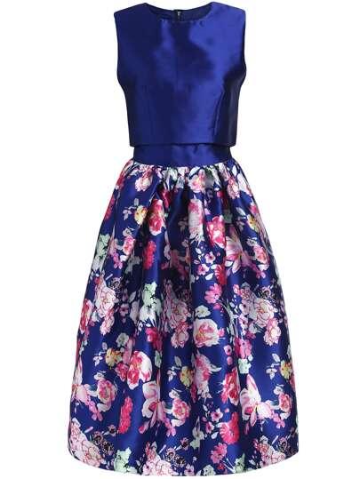Top sin manga crop con falda flores -azul oscuro