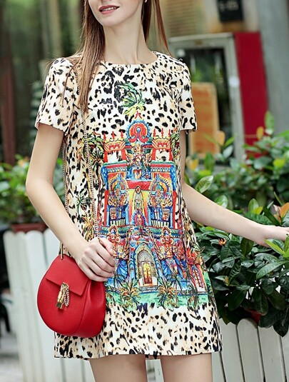 Multicolor Round Neck Short Sleeve Leopard Print Dress