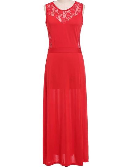 Vestido sin manga encaje maxi -rojo