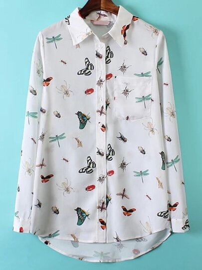 Multicolor Lapel Preppy Appropriately Insect Print Pockets Blouse