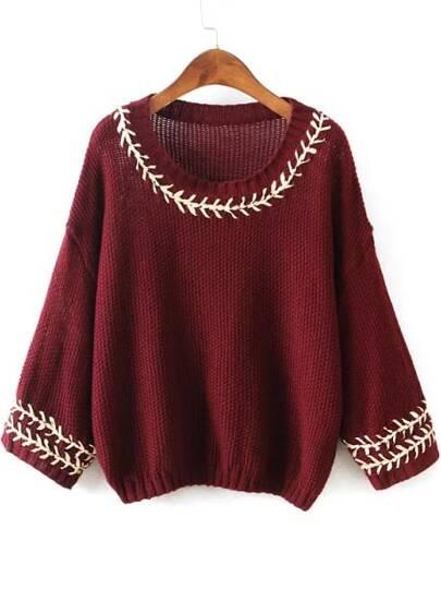 Jersey bordado cuello redondo -rojo