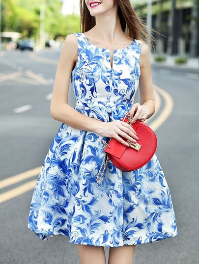 Vestito smanicato a fiori blu & bianco