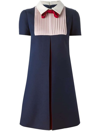 Navy Tie Lapel Short Sleeve Pleated Dress