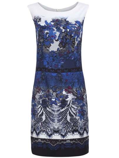robe imprimé sans manche col rond -bleu marine
