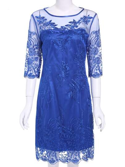 Blue Round Neck Half Sleeve Embroidered Dress