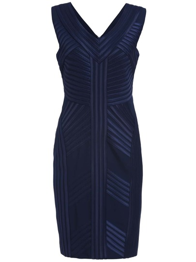 Navy Striped V Neck Sleeveless Dress
