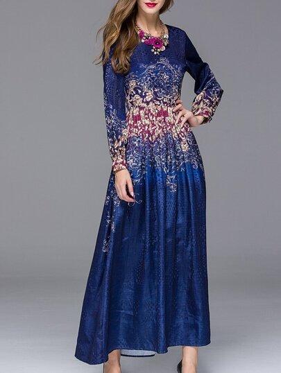 robe taille nouée col rond -bleu marine